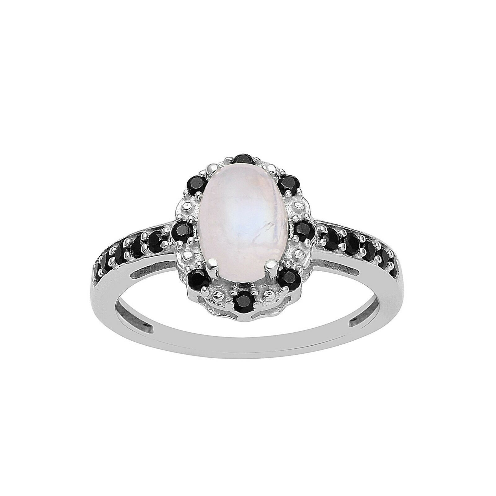 0.75 Ct Rainbow Moonstone Black Spinel Halo Cluster Ring 925 Sterling Silver