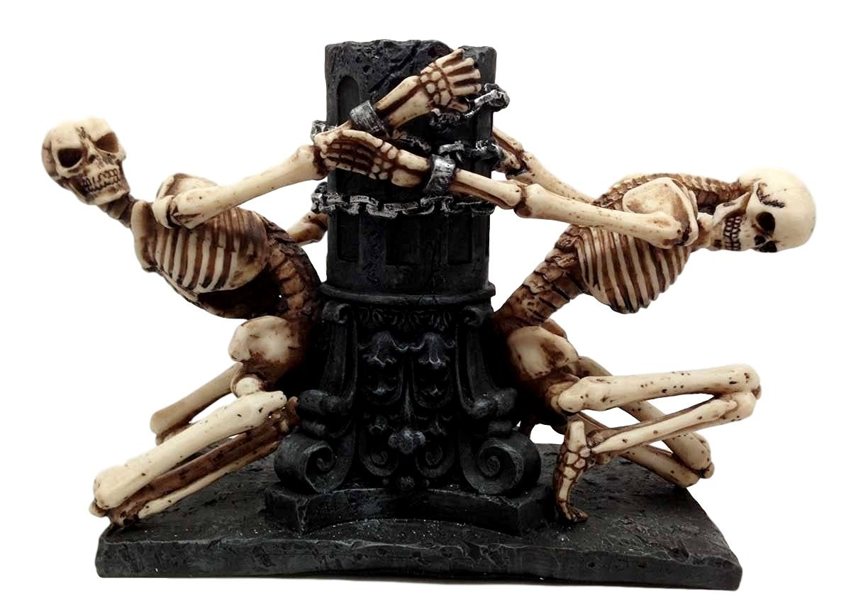 Love Never Dies Chained Skeleton Couple Candleholder Statue Figurine - $39.99