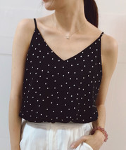 Women's Chiffon Tops Black Dot Chiffon Top V-neck Summer Blouse Top Petite Size  image 1