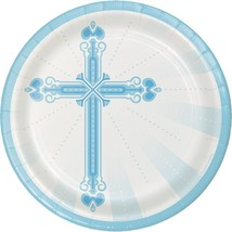 18 Count Blessings Blue Sturdy Style 9 in. Paper Dinner Plates  - $6.38