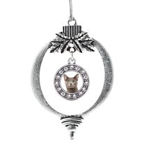 Inspired Silver Birman Cat Circle Holiday Christmas Tree Ornament With Crystal R - $14.69