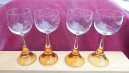 ROSENTHAL CLAIRON CRYSTAL CORDIAL STEM GLASS 4 AMBER SIGNED RARE  MID CE... - $47.51