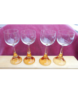ROSENTHAL CLAIRON CRYSTAL CORDIAL STEM GLASS 4 AMBER SIGNED RARE  MID CE... - £38.27 GBP