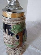 Vintage Beer Stein Music Box look-alike is signed Japan German Village Scene & L image 4