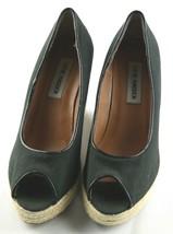 Steve Madden Peep Wedges Womens Size 6 Black Canvas Slip On High Heel Shoes image 2
