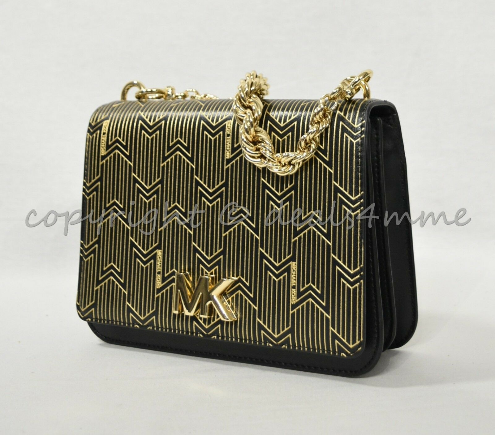 e94104a81e40 NWT Michael Kors 30H8MOXL7M Mott Metallic Deco Leather Satchel / Crossbody  Black