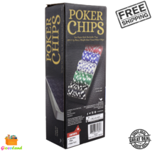 100-Piece Poker Chip Set Stackable Plastic Tray Las Vegas Style Ages 10 ... - $18.99