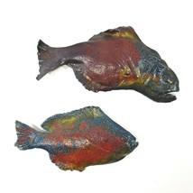 Set of 2 RAKU Fish Plaques Wall Art Decor Ingram Signed by Artist - $39.50