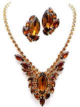 Vintage Juliana Style Rhinestone Necklace & Earrings Set With Huge Topaz... - $185.00