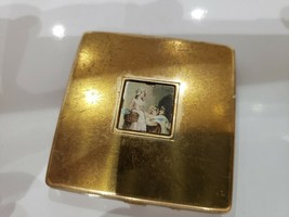 Vintage Yardlery of London Powder Compact Gold Case Mirror / 2 x 2 /  003/1 - $17.59
