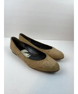 Stuart Weitzman Womens Flats Shoes 9.5 Beige Floral Embroidered - $98.99