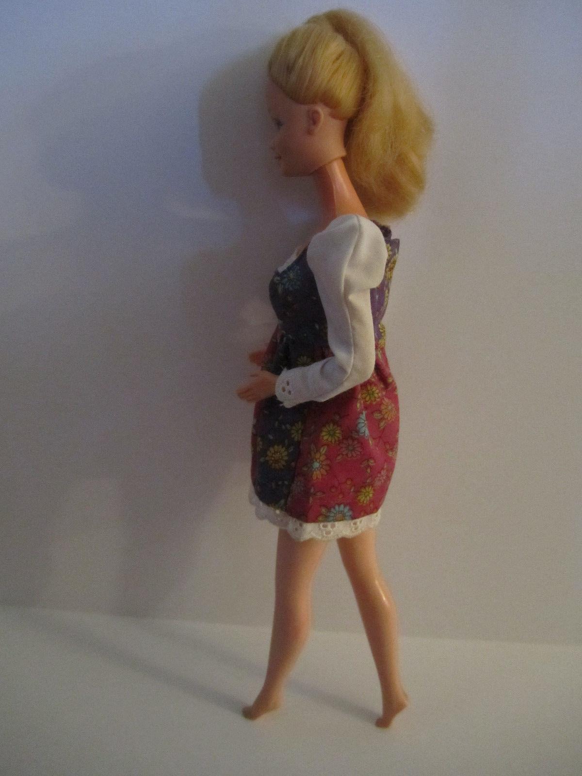 Blonde Barbie Doll in vintage Red Purple Flowered Minidress image 5