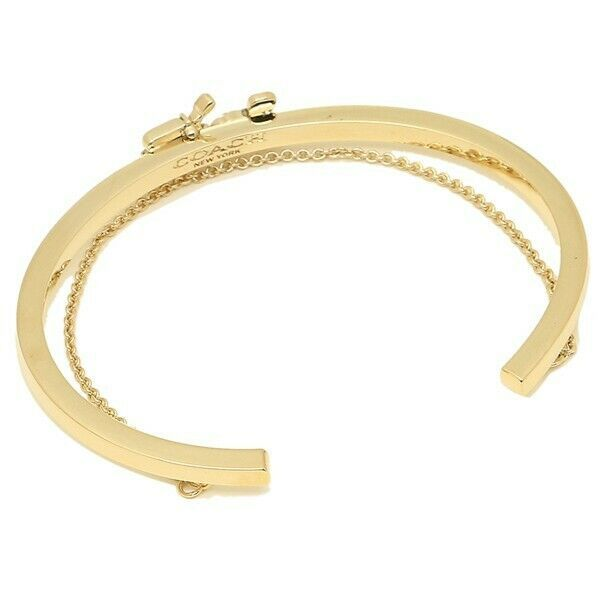Coach F33376 Women Bracelet Gold Horse & Carriage Double Chain Cuff