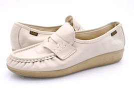 SAS Womens 8 N Beige Leather Hand sewn Slip On Flats Penny Loafers Shoes  - $29.99