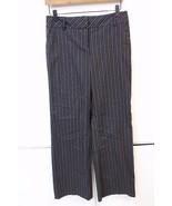 W12556 Womens ANN TAYLOR LOFT Black Pinstripe BOOT CUT SLACKS Pants sz 2 - $28.92