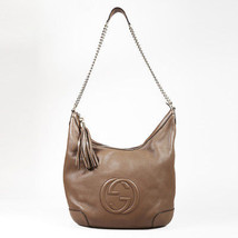 "Gucci Brown Leather Gold Tone ""Soho Hobo"" Bag - $985.00"