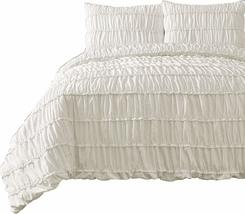 Ruched 3pc Comforter Set Pinch Pleat Ruffled, Ivory for a Full Size Bed - $38.88
