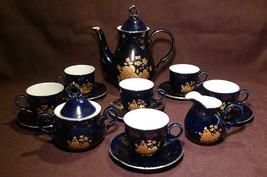 Hass & Czjzek Cobalt Blue Golden Rose China Tea Set -New - $79.15