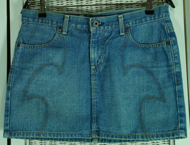 GUESS JEANS Blue Denim Mini Skirt S-M 29″ W Jeans Pencil Skirt Stitched ... - $31.25
