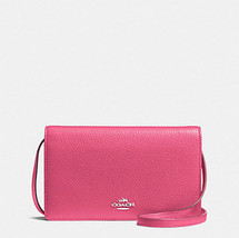 COACH F54002 FOLDOVER CROSSBODY CLUTCH  Wallet MAGENTA Pink NWT - $93.06