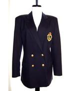 Lauren Ralph Lauren wool navy crest logo blazer brass buttons double-bre... - $58.50