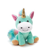 "Burton & Burton  Plush 8"" Rainbow Unicorn with Gold Horn - £14.50 GBP"