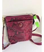 New Coach Crossbody Bag Embossed Python  Leather F50116 Raspberry - $79.19
