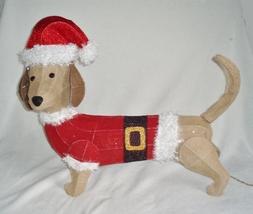 "Lg 26"" Lighted Holiday Burlap Tinsel Style Dachshund Dog Christmas Decor... - $89.00"