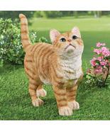 Cute Kitty Orange Tabby Cat Garden Statue Outdoor Decoration - $32.16