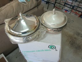 Silver Plated Banquet Server Pyrex Glass , Set of 2 , Vintage , TLC Needed  - $125.00