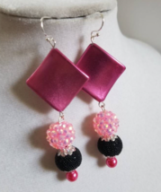 Geometric Pink Earrings, Beaded Black Earrings, Black Dangle Earrings - $9.00