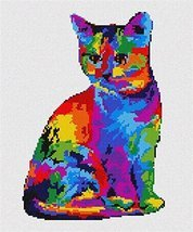 pepita Painted Cat Needlepoint Canvas - $74.00