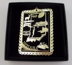 Indiana Brass Ornament State Landmarks Black Leatherette Gift Box - $14.95