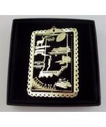 Indiana Brass Ornament State Landmarks Black Leatherette Gift Box - $14.95