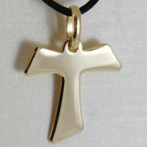 Flat yellow gold cross 750 18k pendant Franciscan tau,, san francesco, Italy image 3
