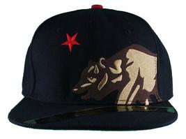 Dissizit! Side Bear Black Snapback Cap Hat California Star Flag image 2