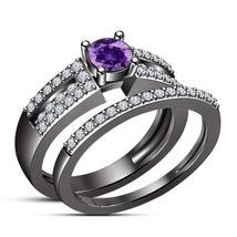 Purple Amethyst 14k Black Gold Finish Pure 925 Silver Bridal Engagement Ring Set - $97.89