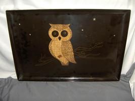 Vntg Couroc Owl On Branch Black Phenolic 18 x12 Serving Tray Monterey CA... - $64.35