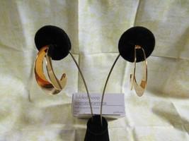 E124) Vtg. 1991 Avon Folded Hoop Pierced Earrings Large Gold Tone-SS Posts - $4.74