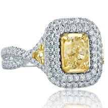 2.07 TCW Cushion Cut Trillion Side Diamond Engagement Infinity Ring 18k White Go - $4,384.71