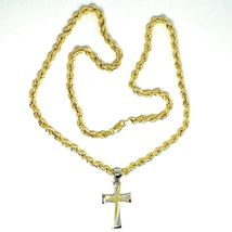 18K YELLOW GOLD BIG 5 MM ROPE CHAIN, 24 INCHES & STYLIZED SQUARE TWO TONE CROSS image 5