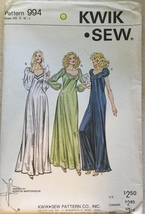 Kwik Sew 994 Misses'Vintage Full Length Nightgown Sizes: XS-S-M-L  Uncut - $19.99