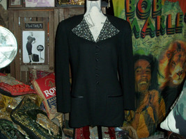 SAKS FIFTH AVE Sharp Jet Black Stud Wool Blazer Size 8 - $24.75