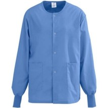 Medline Angelstat 3XL Ceil Blue Round Neck Warmup Scrub Jacket Unisex New - $21.53