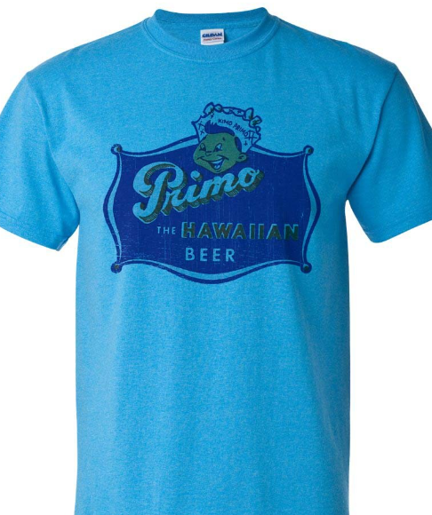 Primo Beer T-shirt Hawaii distressed vintage label graphic heather blue tee