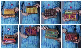 5 Pc Wholesale Lot Clutch Leather Hippie Bags Indian Embroidery Bag Hand... - $281.42