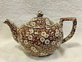 Vintage Brown Calico Crownford Staffordshire  Ball Teapot 9 1/4 Great Shape - $94.05