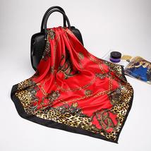 Fashion Women Scarf Luxury Brand Pink Leopard Hijab Silky Satin Shawl Scarfs Fou image 5