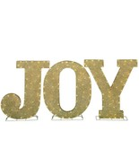 Large Lighted Gold JOY Sign Sculpture Display Outdoor Christmas Decorati... - $494.50