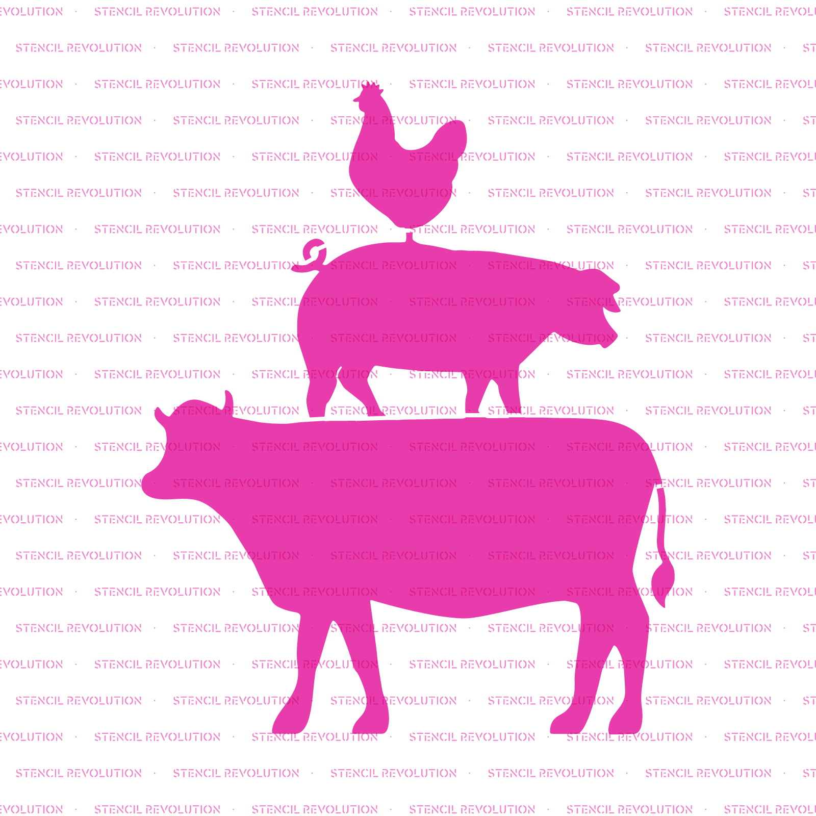 Cow Pig Chicken Stencil - Reusable Stencils Small & Large Sizes Cow Pig Chicken